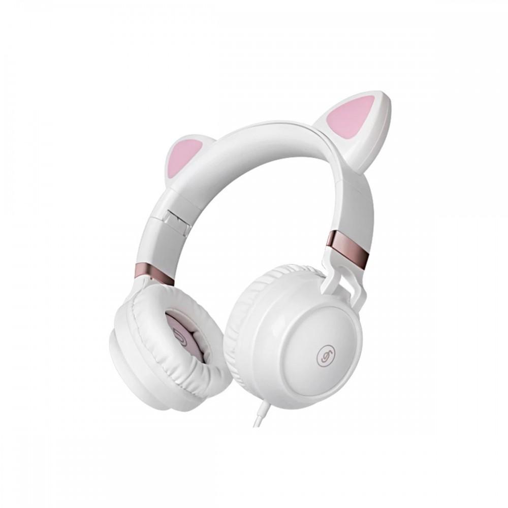 Auriculares estéreo con micrófono diseño orejas de gato