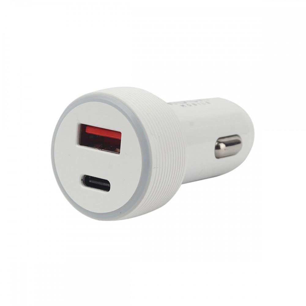 Ficha cargadora para auto con entrada USB y Tipo-C