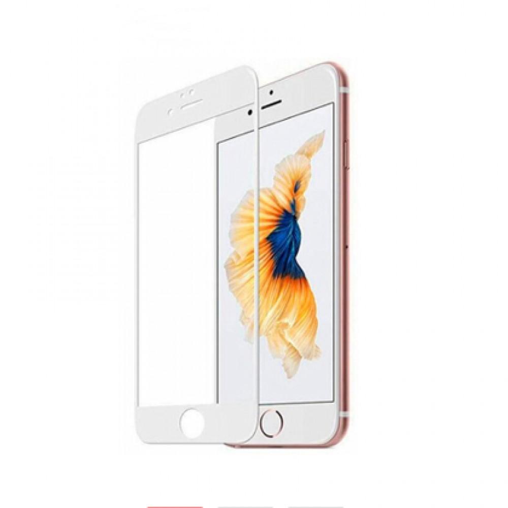 Film templado 9D iPhone 6/6s Plus borde color blanco