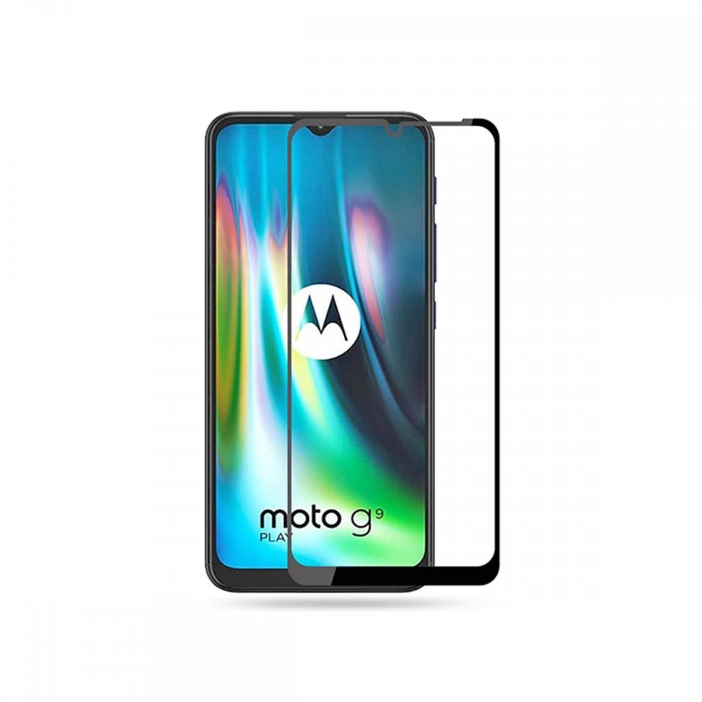 Film templado 9D Motorola G9 Play borde color negro