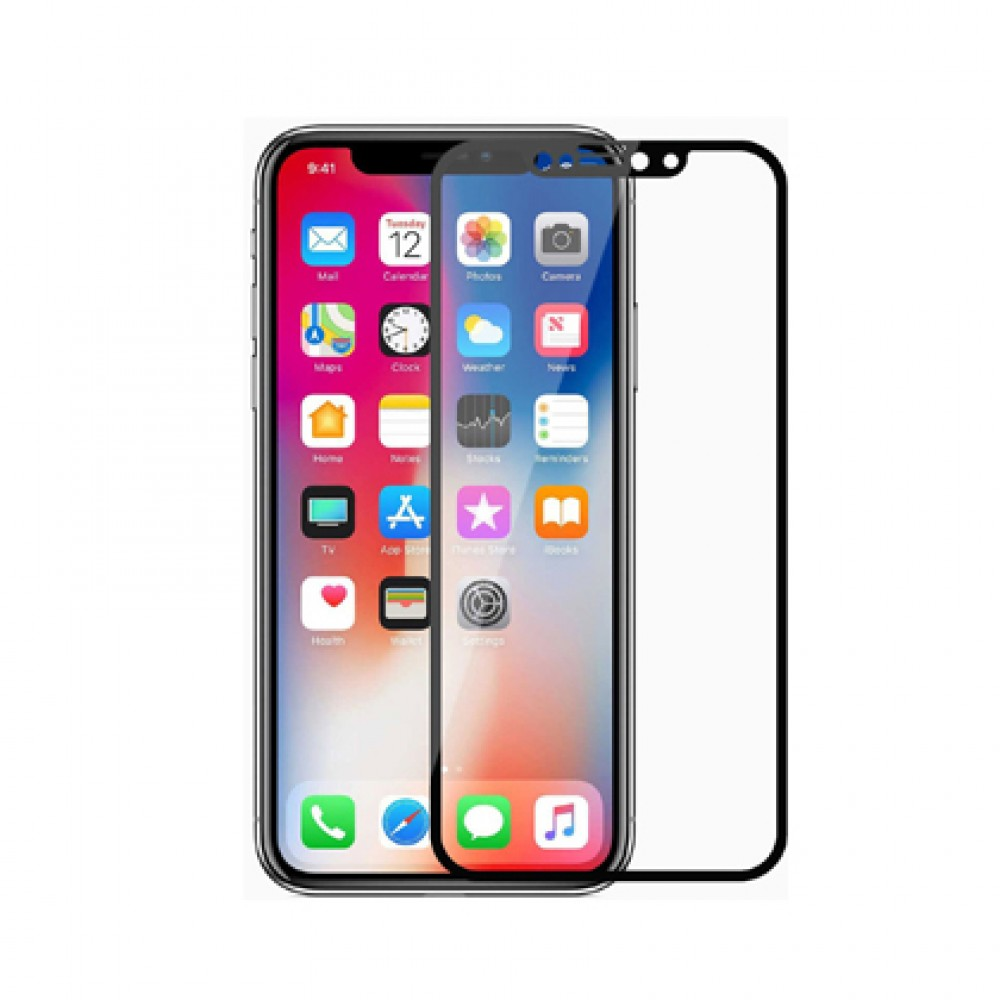 Film templado 9D iPhone XS MAX borde color negro