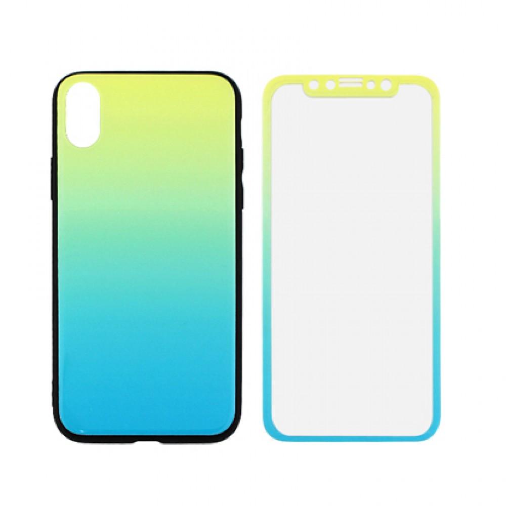 Protector iPhone Xr degrade color amarillo y azul