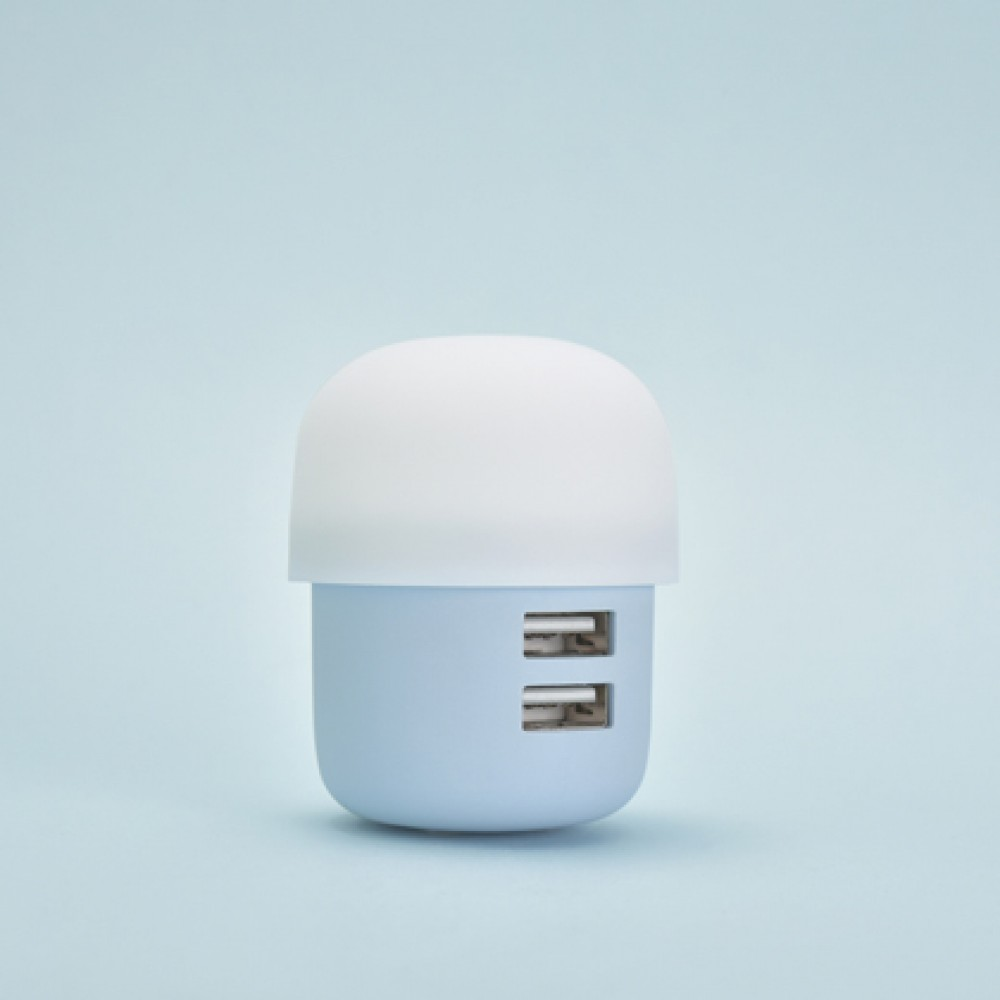 Ficha cargadora de pared Icarer 2 USB color azul