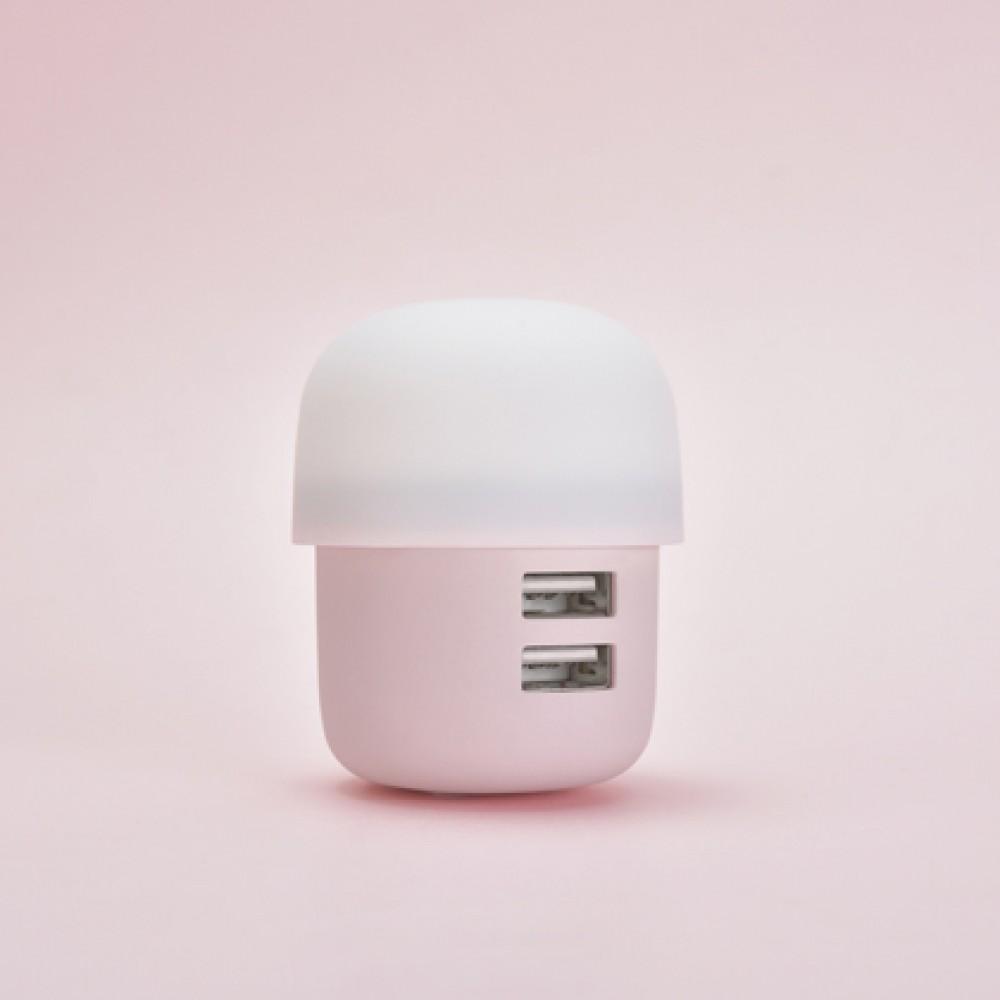 Ficha cargadora de pared Icarer 2 USB color rosa