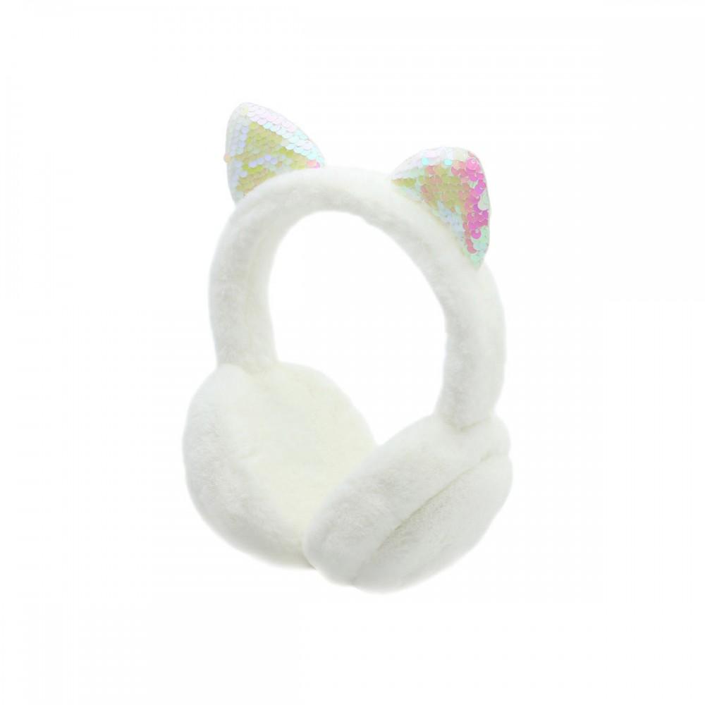 Auriculares de vincha blancos con orejas brillantes