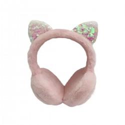 Auriculares de vincha rosa con orejas brillantes