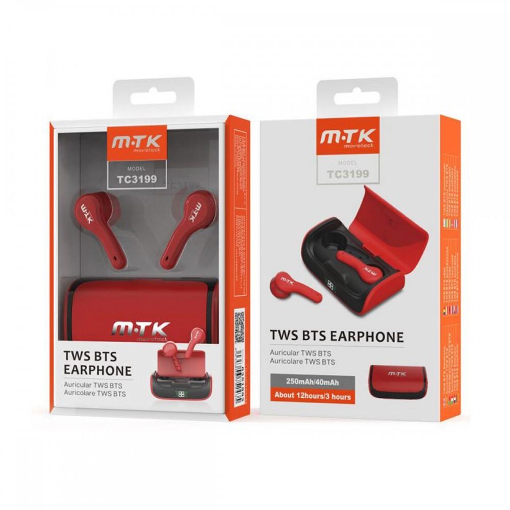 Auriculares bluetooth inalámbricos MTK TC3199 color rojo