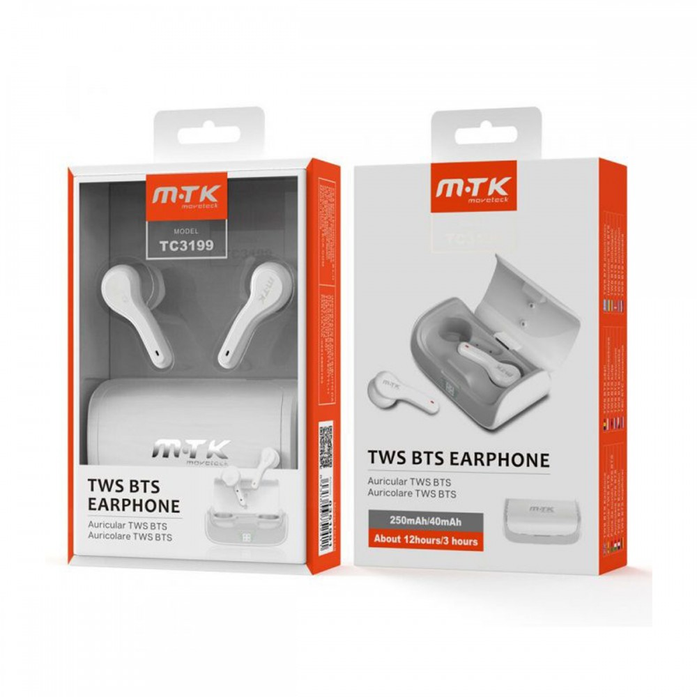 Auriculares bluetooth inalámbricos MTK TC3199 color blanco