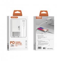Cargador de pared PD 18W + cable Tipo-C a Tipo-C