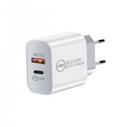 Ficha cargador de pared USB y Tipo C 18W