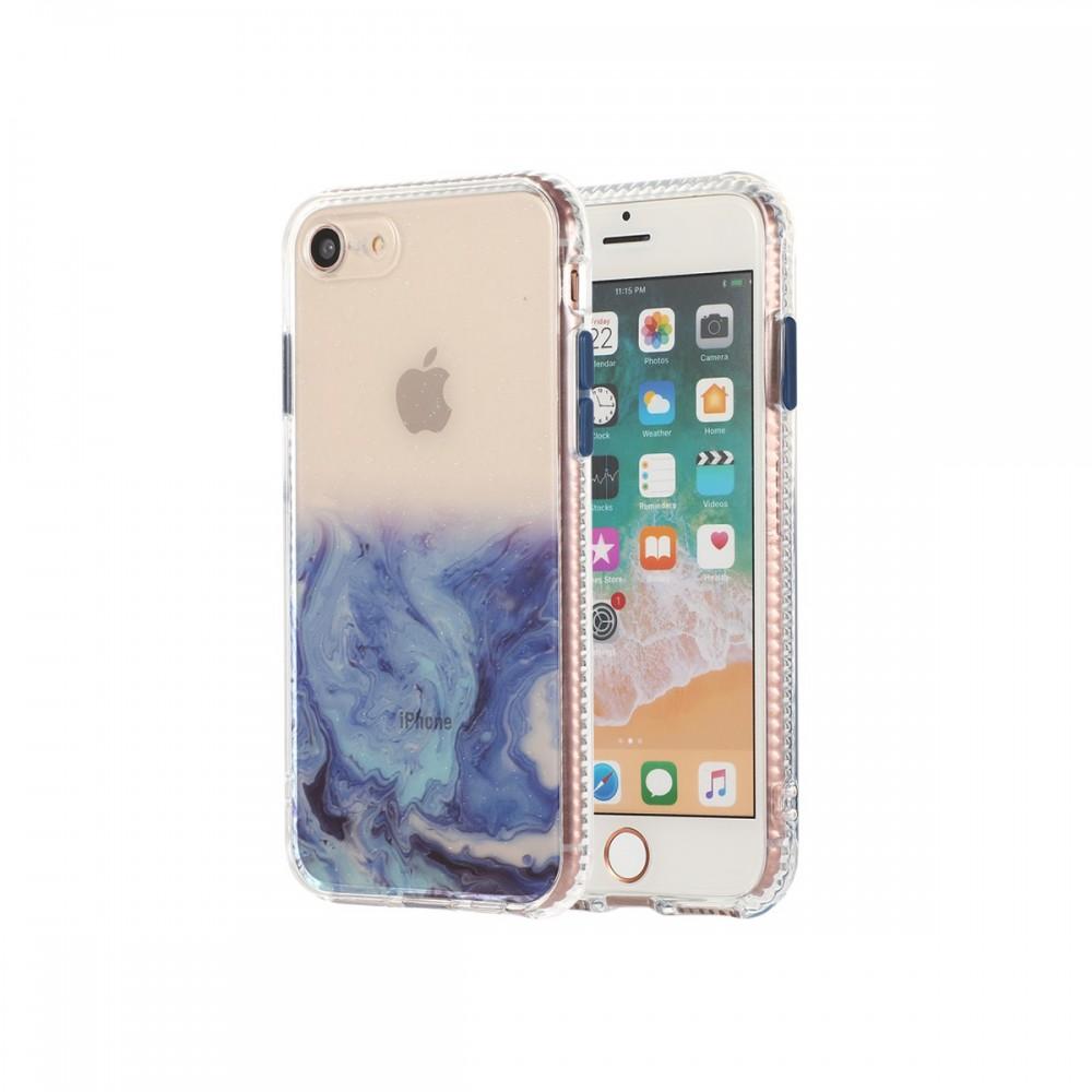 Protector rígido iPhone SE 2020 transparente diseño mármol azul