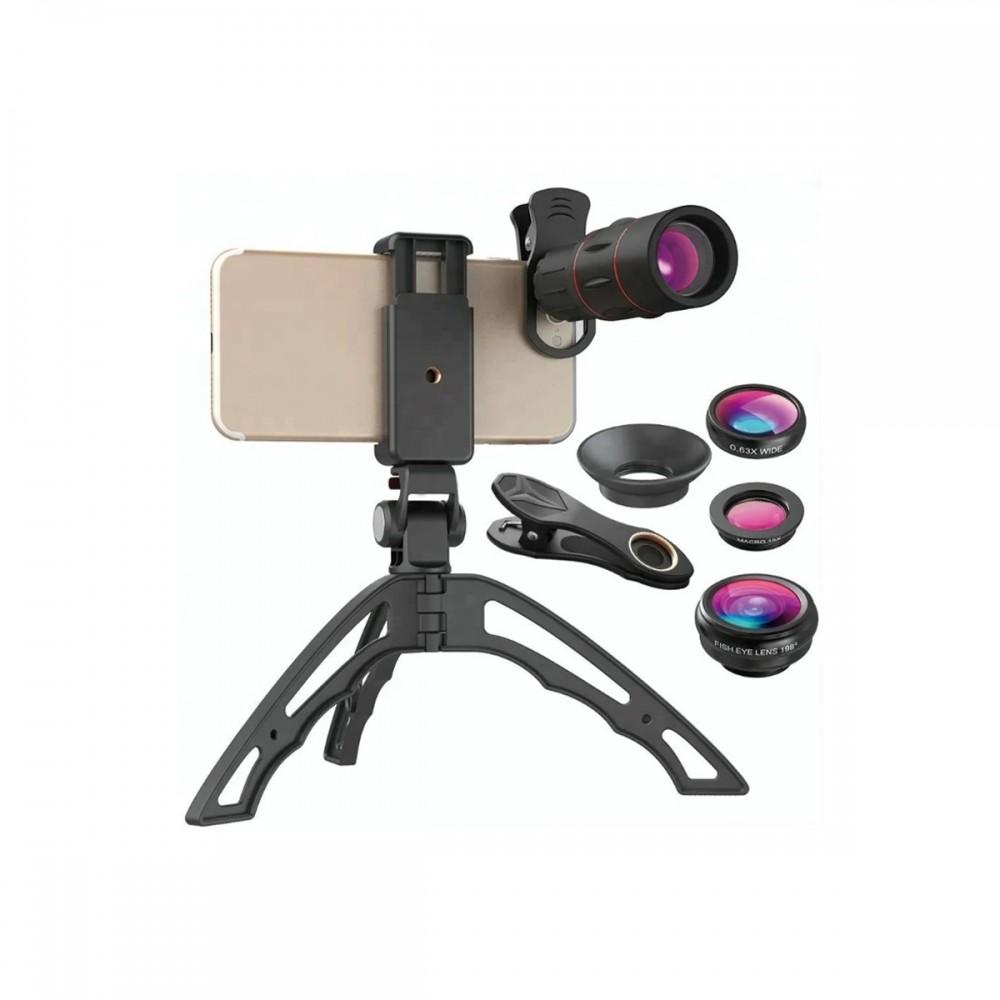 Kit de lentes para celular 4 en 1 con trípode